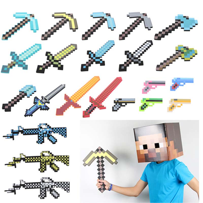 Funny Minecraft Weapon Toys Gun Sword Pick Axe Minecraft Game Props Model Toys Kids Toys for Children Gift #E