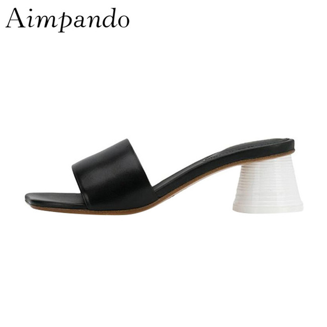 Individual Cup Heel One-strap Slippers Women Square Open Toe Strange Heel Beach Slides 2019 New Summer Outwear Shoes Woman