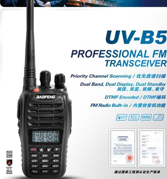 DHL freeshipping+2 sets/lot baofeng uv-b5 walkie talkie uv b5 uhf vhf dual band radio transceiver portable ham radio transmitter