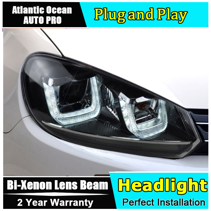 Car Styling Golf 6 headlights 2009-2012 VW Golf6 led headlight Volks wagen led drl turn signal drl HID KIT Bi-Xenon Lens low bea hireno headlamp for 2016 hyundai elantra headlight assembly led drl angel lens double beam hid xenon 2pcs
