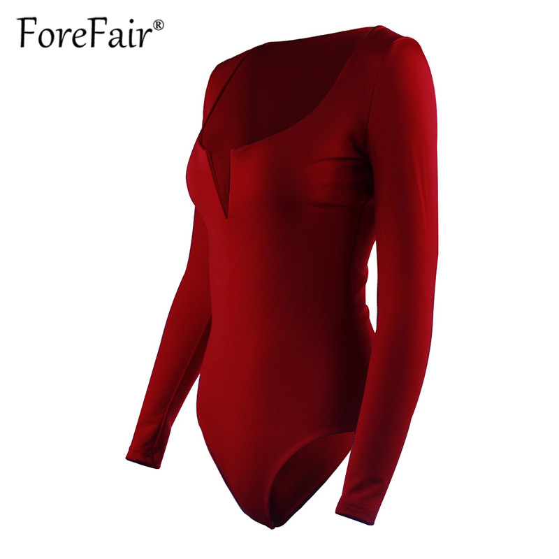 Forefair Sexy Bodysuit For Women Body Top 2019 Spring Autumn Black White Casual Body Woman Skinny V Neck Long Sleeve Bodysuits (6)