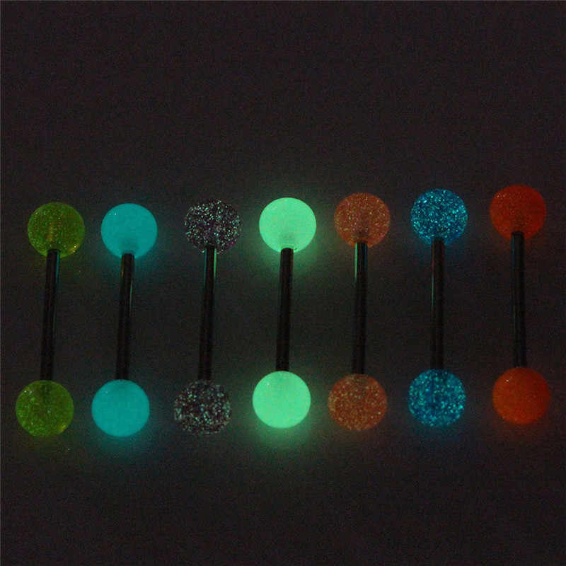 7 Buah/Set Tindik Tubuh Perhiasan Luminous Glow Akrilik Lidah Cincin Hidung Barbel Bar