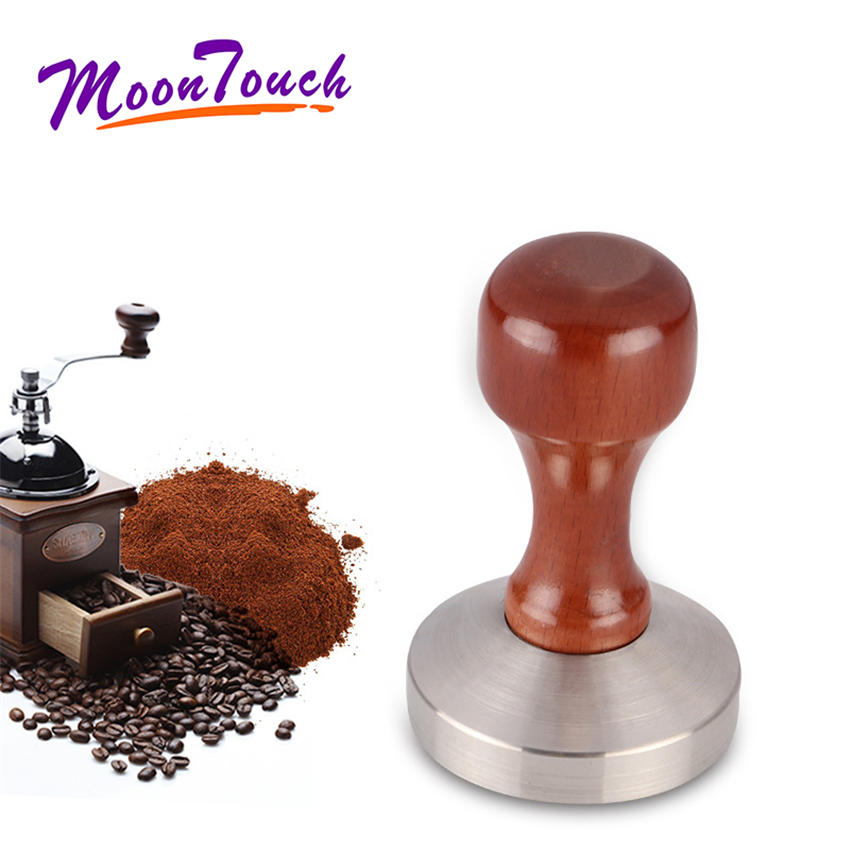 Stainless Steel Base Wooden Handle Tamper Coffee Powder Hammer 51/53/57/57.5/58 Coffee Accessories Barista Tools
