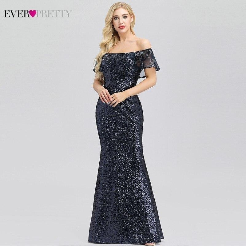 Vestidos De Gala Ever Pretty Navy Blue Mermaid Prom Dresses Off The Shoulder Sequined Ruffles Sexy Evening Party Dresses 2019