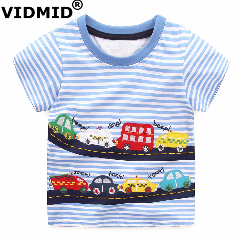 VIDMID Boys Short Sleeve Cotton T-Shirt Kids Brand Car Design Cartoon T-shirts Clothes Baby Boy Short Sleeve O-neck Top Clothing