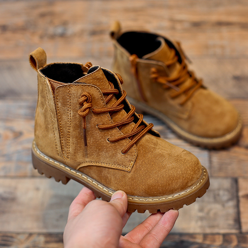 Winter Boys Girls Boots Genuine Leather Anti-suede Martin Boots Side Zipper Retro Warm Cotton Boots