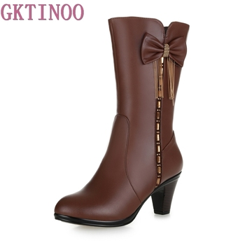 karinluna 2018 plus size 33 45 genuine cow leather boots women shoes square high heels best quality knee high boots shoes woman New Rhinestones Bow genuine leather boots Winter Shoes Woman Snow Boots 2021 Large Size High Heels Knee High Boots Women Boots