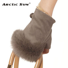 EL019NC-1 fashion rabbit hair women mitten Genuine lambskin leather gloves for female 5 colors optional