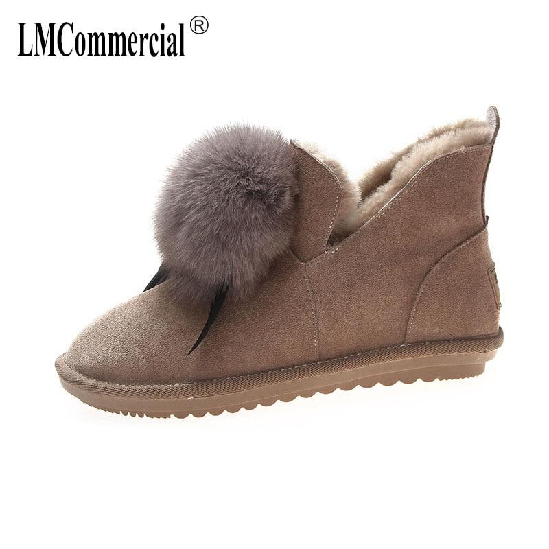 Luxe Femmes En Designers Chaud noir Neige Laine Cheveux Combat Hiver Bottes Court Beige Chaussures Réel Cuir De SOOqP5xw