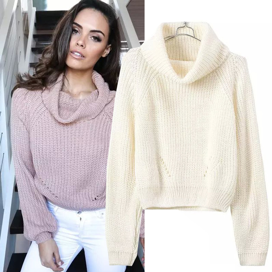 Womens Cute Turtleneck Long Sleeve Cropped Knit Sweater New ...