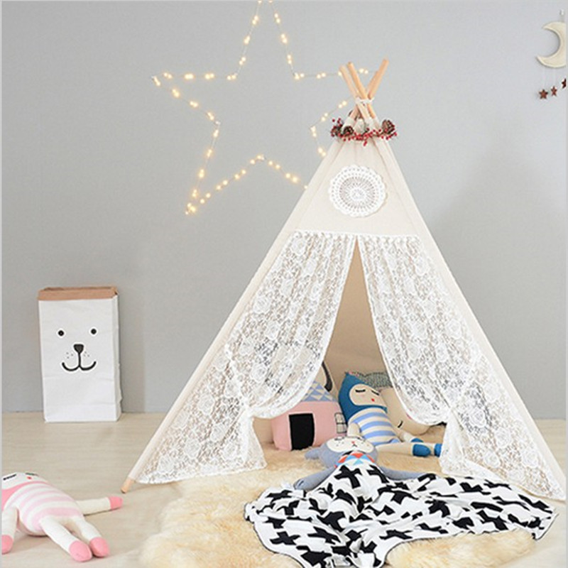 Four Poles Children Teepees Lace Cream Tent For Girls Kids Play Tent Cotton & Lace Tipi For 0-12 Baby Ins Hot black tree printed children teepee four poles kids play tent cotton canvas tipi for baby house ins hot foldable children s tent