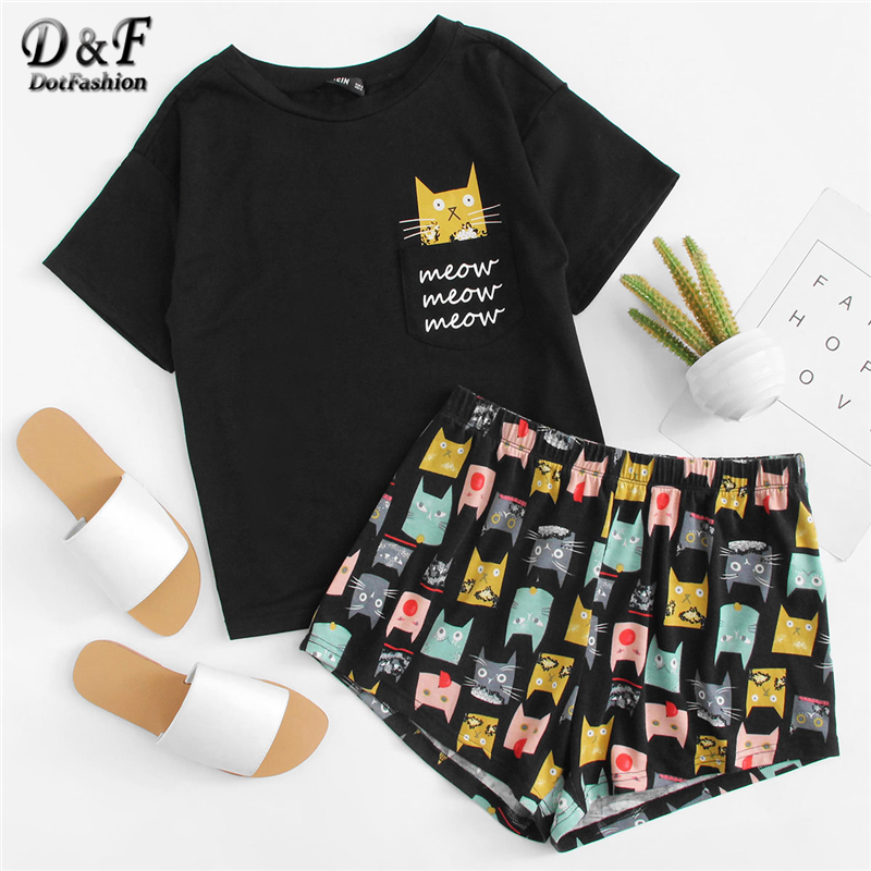 Dotfashion Cat Print Tee & Shorts PJ Set 2019 Summer New Woman Short Sleeve Preppy Nightwear Letter Print Pajama Set With Pocket