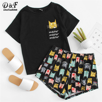 Dotfashion Cat Print Tee & Shorts PJ   Set   2018 Summer New Woman Short Sleeve Preppy Nightwear Letter Print   Pajama     Set   With Pocket