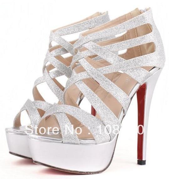 2017 Summer Brand Designer Gold Silver Womens Gladiator Sandals Red Bottoms High Heels Stry Wedding Shoes