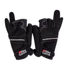 Кожаные перчатки для рыбалки, перчатки из ткани Aub Garcia высокого качества, удобные противоскользящие перчатки без пальцев для рыбалки