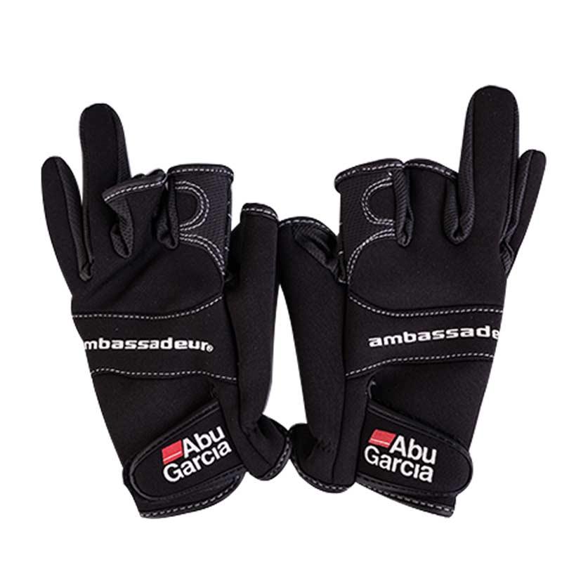 Guantes de cuero para guante de pesca tres figner de alta calidad telas Aub garca comodidad antideslizante guantes sin dedos de pesca
