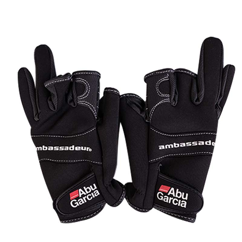 Leather Gloves For Fishing Glove Three Figner High-quality Aub Garcia Fabrics Comfort Anti-Slip Fishing Fingerless Gloves