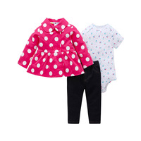 FREE SHIPPING Cartered toddler Baby Girl Bodysuit Set 3pcs pack Hooded Long Sleeve Outwear+Long Sleeve Bodysuit+Pants