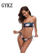 Купить с кэшбэком 2019 Sexy Summer Bandeau bikinis Women Swimsuit Push Up Swimwear Brazilian Thong Bottom For Two-pieces  Beachwear Swimwear Biqui