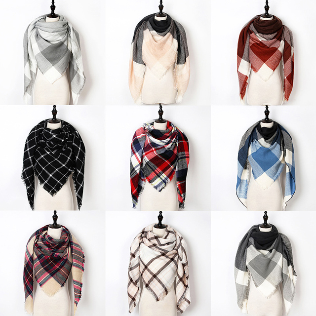 New Warm Winter Scarf Women Shawl Fashion Tartan Cashmere Scarf Luxury Brand Plaid Blanket Scarves Triangle Bufanda Wholesale