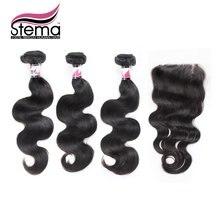 Stema Hair Brazilian Body Wave 3 Bundles Hair Weft with 1PC Lace Closure Human Virgin Hair StemaHair with Closure Hair Extension