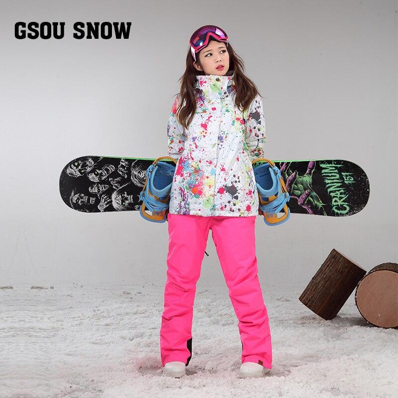 Gsou snow colorida ropa de las nuevas mujeres y de esquí pants-30 grados