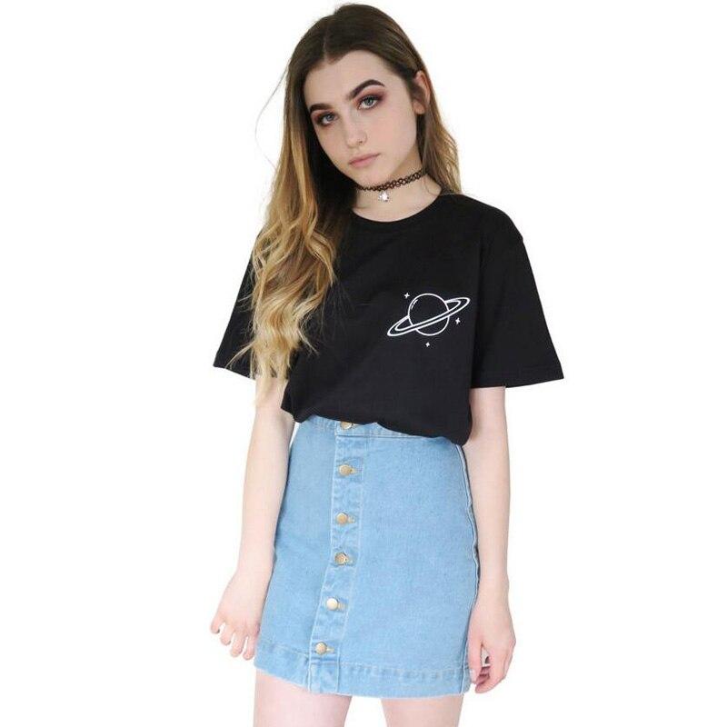 Saturn planeten t-shirt Tumblr hipster frauen tops Schwarz T shirt Baumwolle Gedruckt t-shirt 2018 Neue Harajuku stil T shirt femme
