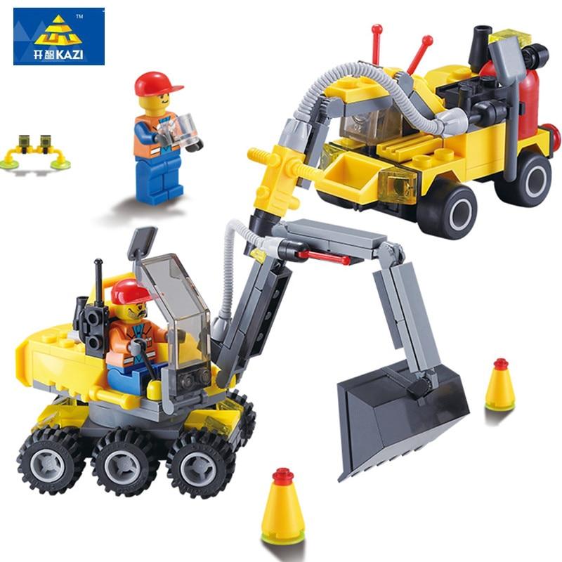 196Pcs City Construction Excavator KAZI Mini Building Block Bricks Assembled Action Figure Educational Model Childrens Toys Gift