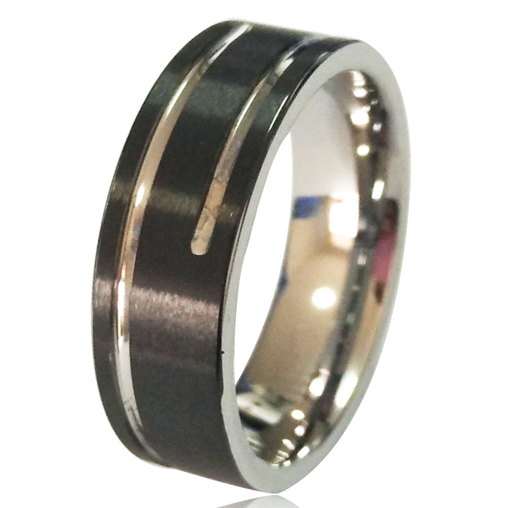 8mm Two-Tone Mens Special Tungsten Carbide Wedding Ring Comfort Fit Black Brush Surface & Silver Inside Size 8 to 13