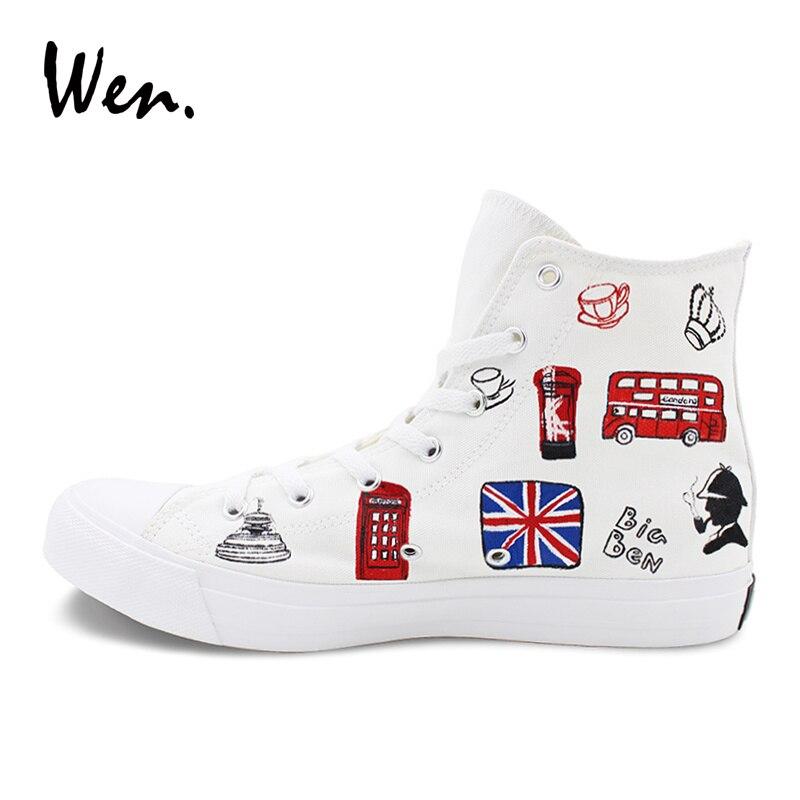 Wen classique blanc toile peint à la main chaussures Design Original londres repères haut appartements unisexe baskets décontractées chaussures pour adultes - 4