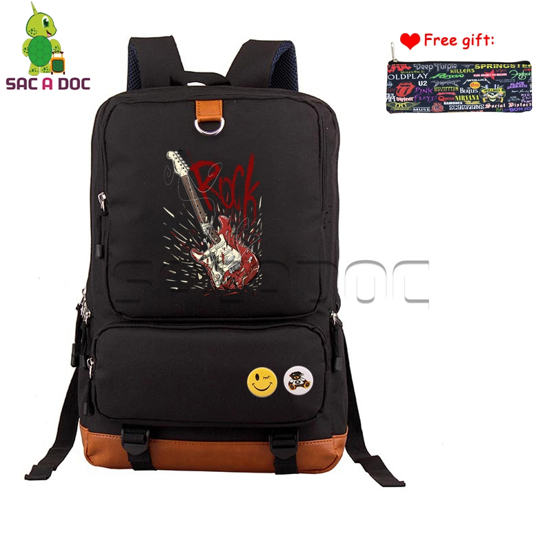 Punk Guitar Backpack Women Men Computer Backpacks Hip Hop School Bags for Teenagers Boys Girls Rock Travel Ruckack Case Gift