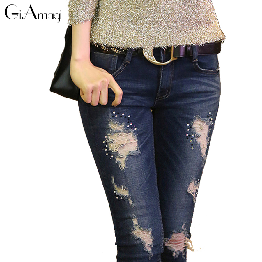 New Arrived Plus Size Blue Jeans Women Skinny Pencil Pants Denim Ripped Boyfriend Jeans With Holes For Woman grp049 inc international concepts plus size new charcoal pull on skinny pants 14wp $59