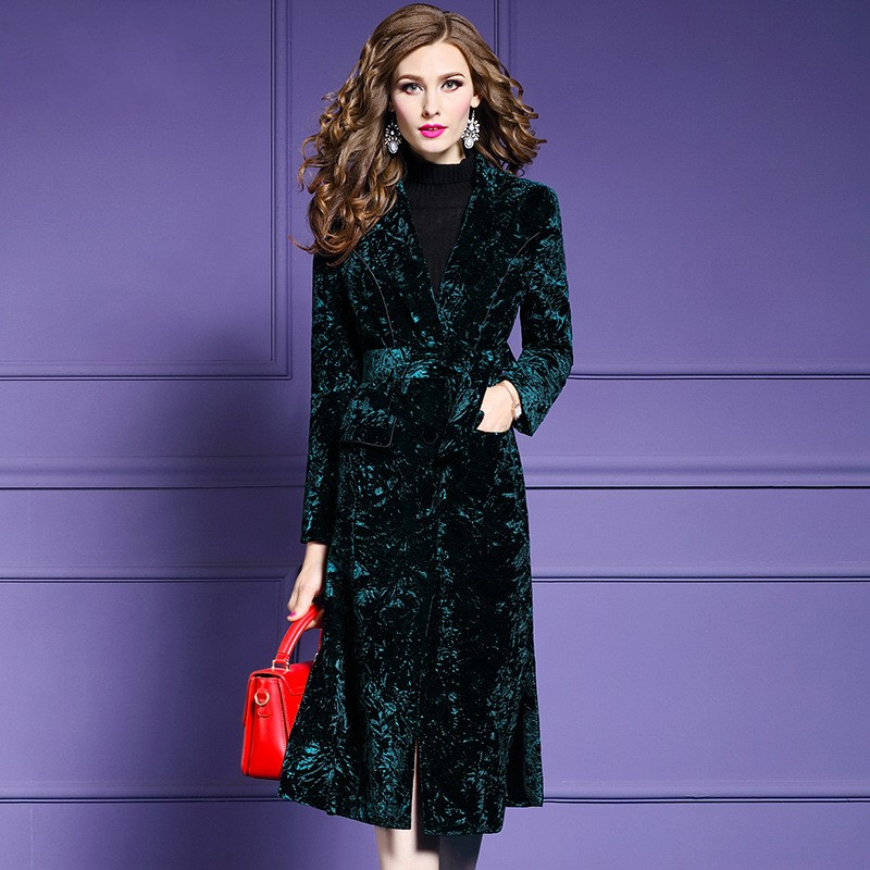 2019 New Women Velvet   Trench   Coat Fashion Single Breasted Chic Belt Outerwear Elegant Slim Fit OL Windbreaker Female Long Coats