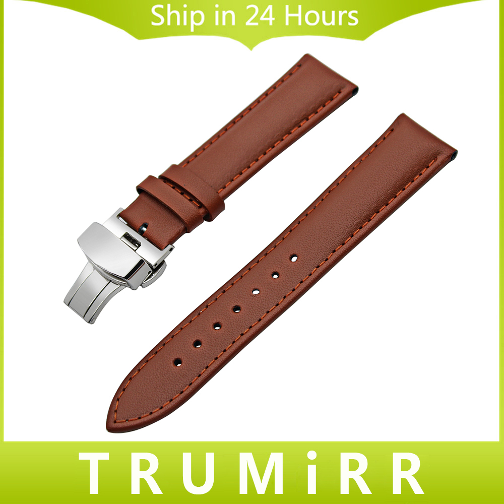 Genuine Leather Watchband 18mm 20mm 22mm 24mm Universal Watch Band Butterfly Buckle Strap Men Women Wrist Bracelet Black Brown 22mm 24mm black mens genuine leather watch strap band