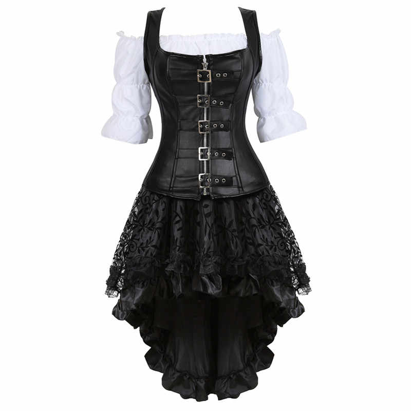 Steampunk Corset Dress for Women Three-piece Leather Corset with Skirt and Renaissance Shirt Gothic Pirate Costume Plus Size