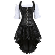 Steampunk Corset Dress for Women Three piece Leather Corset with Skirt and Renaissance Shirt Gothic Pirate Costume Plus Size