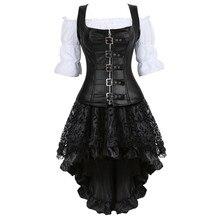 Steampunk Corset Jurk voor Vrouwen Drie stuk Lederen Corset met Rok en Renaissance Shirt Gothic Pirate Kostuum Plus Size