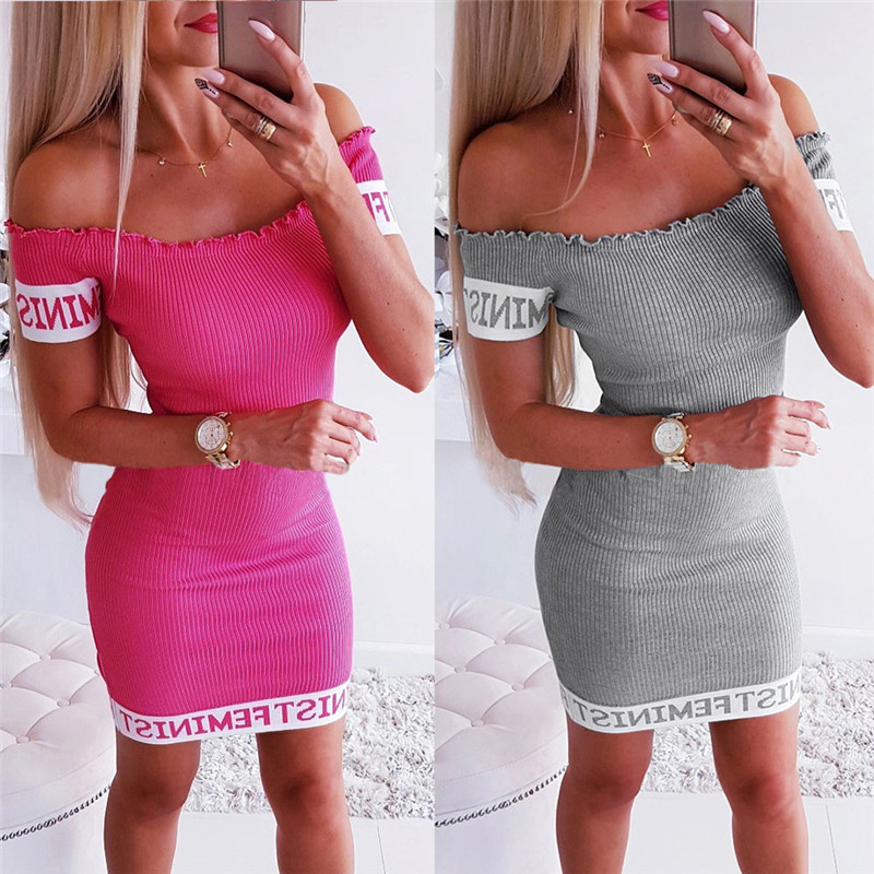 Off Shoulder Summer Dress Vestidos Ropa Mujer Sexy Slash Neck Women Dress Short Sleeve Bodycon Party Mini Dresses Robe Femme in Dresses from Women 39 s Clothing