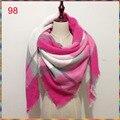 Wholesale140x140cm winter cuadros acrylic cashmere bufandas tartan plaid scarf brand desigual blanket shawl  for Lady Women Girl