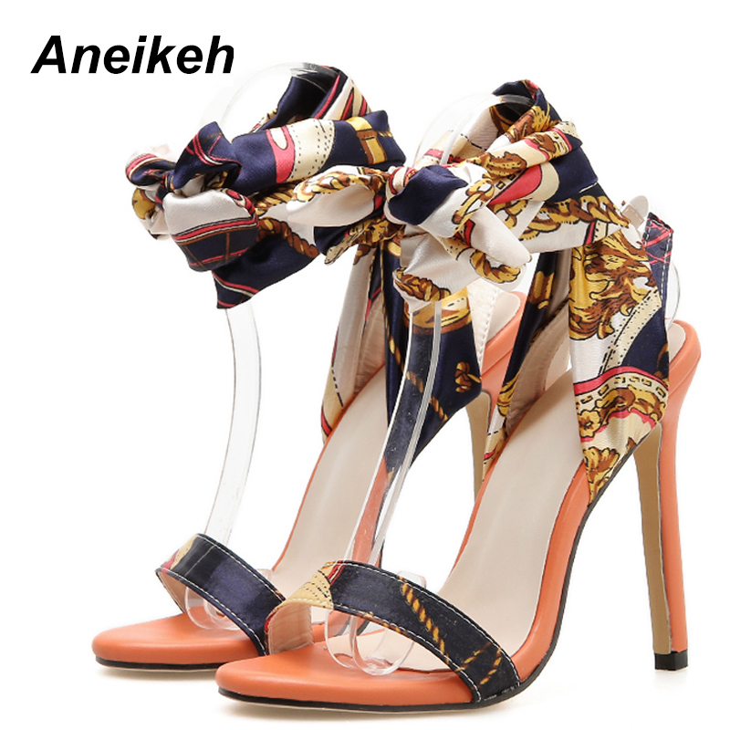 Aneikeh 2019 PU Basic Sandals Women Ribbon Fashion Lace Up Thin High Heel Round Toe Women Shoes Party Orange Party Dance Size 40