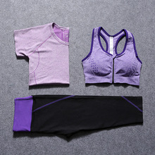 3pcs Yoga Clothes Sets Gym Fitness Running Set Quick Dry Sports Bra T shirt 7 Cropped Pants Women Body Building