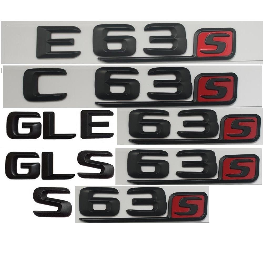 Matt Black Red 3D Letters Trunk Emblem Emblems Badges for Mercedes Benz AMG C63 C63s E63s S63s CLS63s GLE63s GLS63s 4MATIC CDI