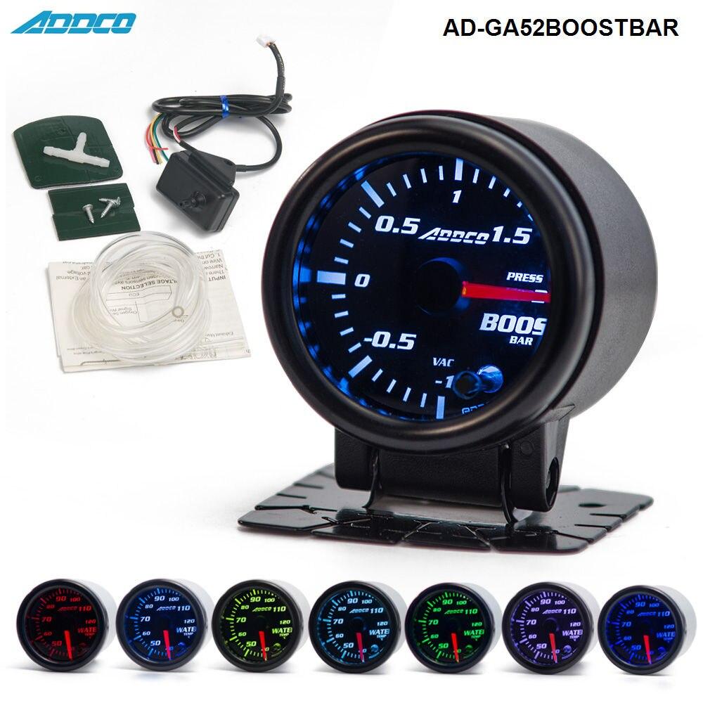 цена на 2 52mm 7 Color LED Electrical Car Bar Turbo Boost Gauge Meter With Sensor and Holder AD-GA52BOOSTBAR
