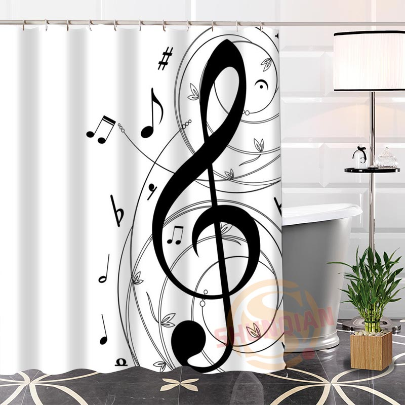 100 Polyester Custom Popular Musical Note Fabric Modern Shower Curtain Bathroom Waterproof New Arrival H0223 22 In Curtains From Home Garden On