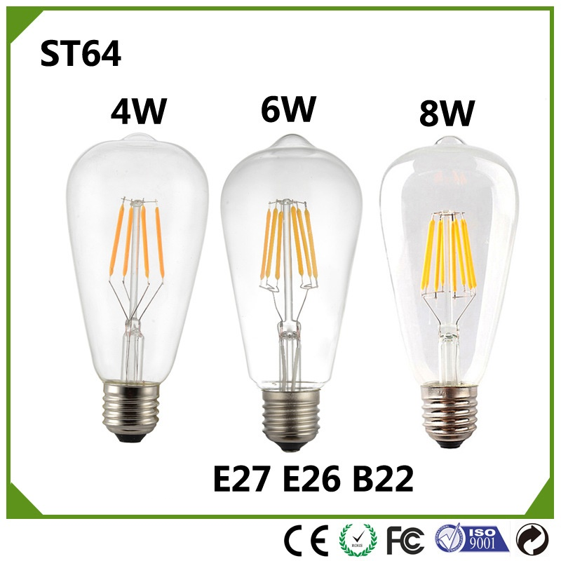 10pcs/lot E27 ST64 Filament <font><b>LED</b></font> Edison <font><b>Bulb</b></font> Vintage lamp 4W 6w 8W dimmable ST21 Filament warm white cold white 110V 230V image
