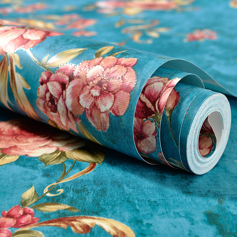 ФОТО Modern Blue 3d Flower Wallpaper Pvc Embossed Living Room Background Wallpaper Vinil Pvc Para Parede Red Wallpaper For Walls Roll