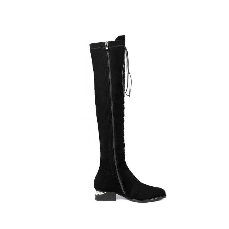 Lace Femmes De Chaussures Talon Femme Cuir Bottes Épais Zipper Up Combat Équitation Noir Haute En Véritable Équestre Genou Nemaone Bas wItT8qT