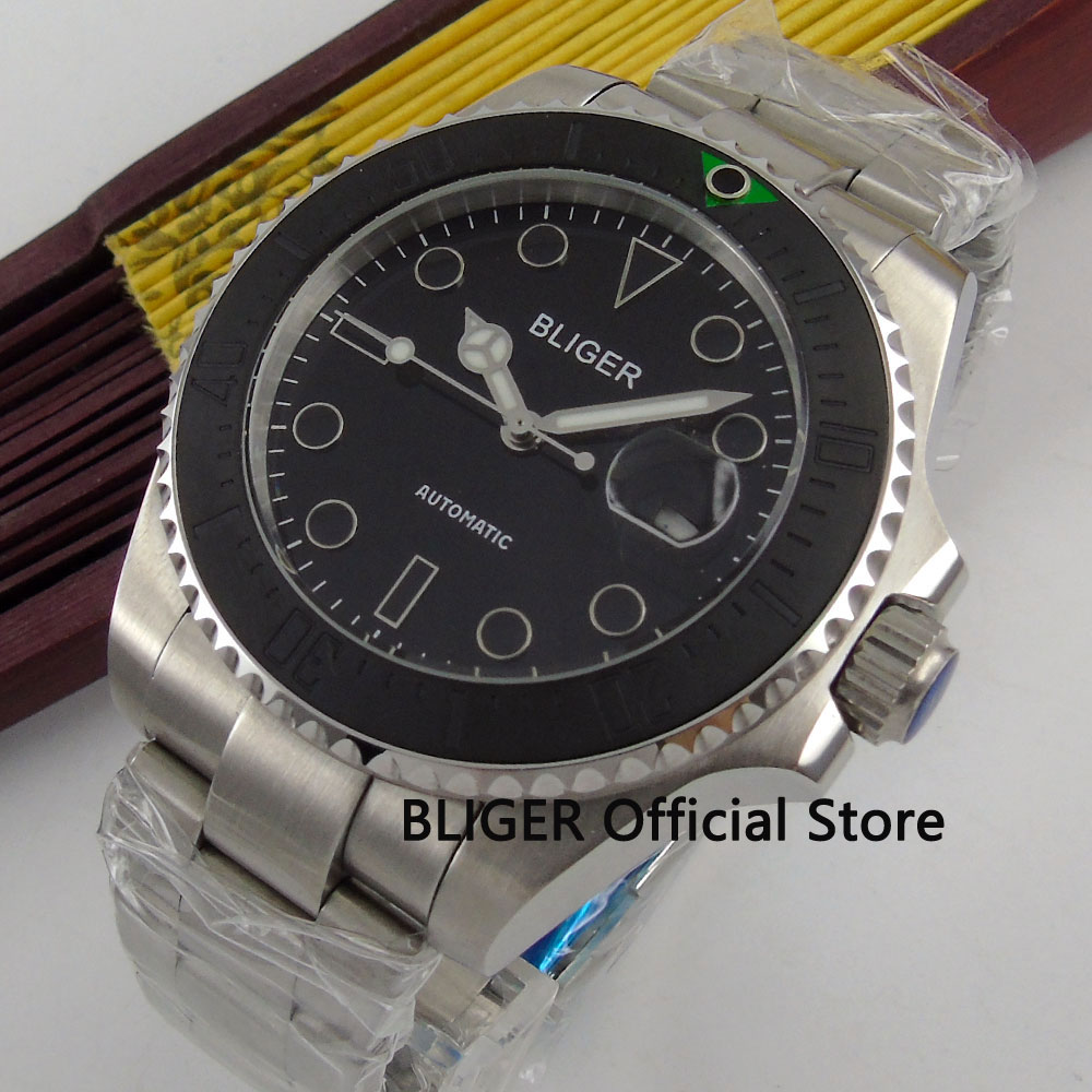 Solid 43MM BLIGER Black Dial Ceramic Bezel Sapphire Crystal Luminous Marks MIYOTA Automatic Movement Mens Wrist Watches B148Solid 43MM BLIGER Black Dial Ceramic Bezel Sapphire Crystal Luminous Marks MIYOTA Automatic Movement Mens Wrist Watches B148