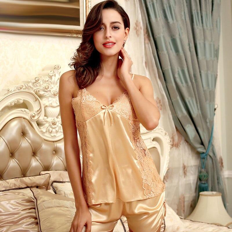 Lace Emulation Silk Satin Pajamas for Women , Short Pajama Sets Kigurumi Pijamas Mujer Satin Pyjamas Women Home Clothes SY067#35 Nightgown