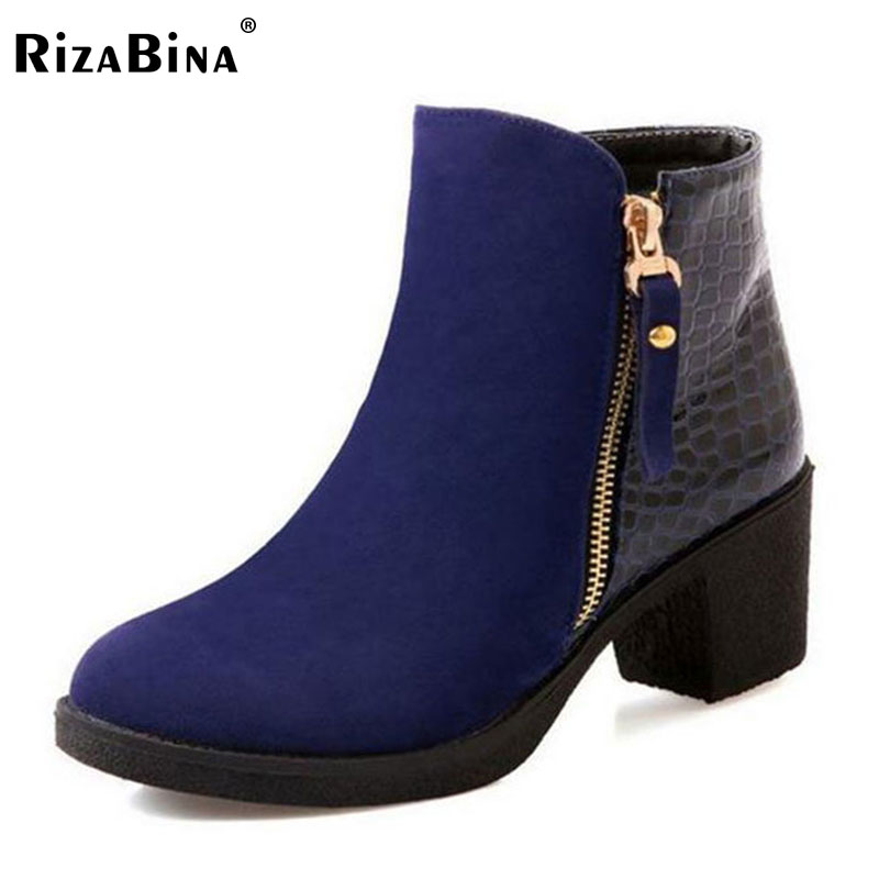 RizaBina women high heel half short ankle boots winter martin snow botas fashion footwear warm heels boot shoes P16077 size34-43